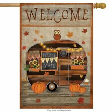 "Fall Camper Welcome House Flag Primitive Owl Pumpkins 28"" x 40"" Briarwood Lane"