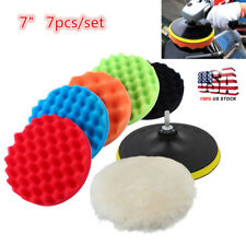 "7"" Polishing Waxing Buffing Pad Sponge Kit Set for Car Polisher 7pcs US"