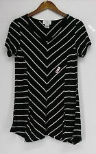 Regular Size Rayon Striped Short Sleeve Tops & Blouses for Women