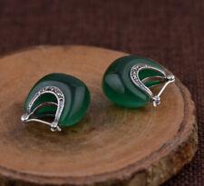H05 Ohrring elegant Sterling Silber 925 grünes Katzenauge und Markasit