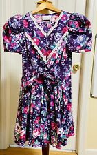 My Michelle Size 10 Girls Purple Floral Dress 100% Cotton made in USA