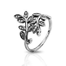 LEAVES 925 Solid Sterling Silver Sparkling CZ Large Wrap Ring Size 8 / 56