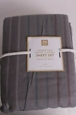 Pottery Barn PB Teen Homestead flannel sheet set, gray, queen *possibly washed*