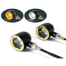 Classic Black & Brass Motorcycle LED Integrated Indicator Daytime Running Lights