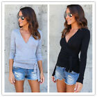 Women's Deep V Neck Long Sleeve Belted Waist Wrap Front Slim Fit Top Blouse