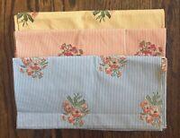 "Highland Court 3 Designer Fabric Samples 26""W 25.5""L Blue Yellow Orange Stripe"