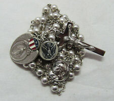 † MOTHER'S PRAYER VINTAGE STERLING ROSARY WWII MILITARY ENAMELED MEDAL PENDANT †