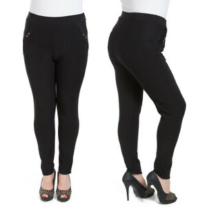 Womens Black Pants with Pockets Stretchy Straight Legs Trousers 2XL-6XL W18-023