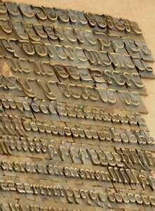 "Bookbinding Brass Type set 0.39"" embossing gold finishing bookbinder script rare"