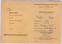 aus Nachlass Merten 1x Mitgliedsbuch des Konsum Dresden 9.3.1946 Nr.233 RARE