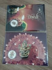 Happy Diwali - 2017 and 2018 ballot issue folder with a $1 coloured silver coin