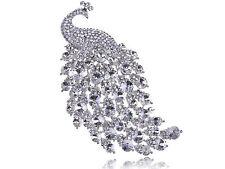 Elegant Tail Silver Pins Brooch Fashion Crystal Rhinestone Peacock Fowler Bird