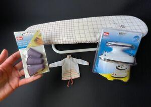 Prym doll clothes ironing set mini board + steam iron guide grid heat resist