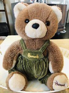 "HARROD'S LONDON TEDDY BEAR, GREEN CORDUROY OVERALLS, 10"" SITTING TEDDY"