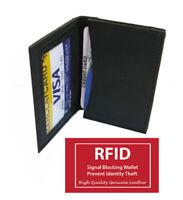 RFID Blocking Black Leather Mens Bifold Thin Window ID Thin Credit Cards Wallet