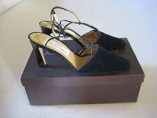 Joseph Azagury vintage navy suede sling-back high heeled shoes, size 38.1/2