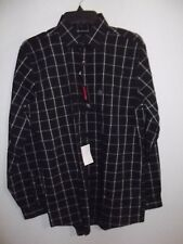 J. FERRAR - MEN - DRESS SHIRT - BLACK PLAID - SIZE 15 1/2  (34/35) (AC-26-202x2)