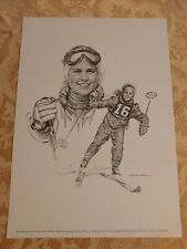Penny Pitou Print Robert Riger Drawing Vintage Frameable Print Olympic Skiing