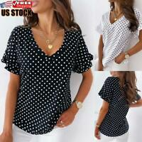 Womens V Neck Polka Dot T-Shirt Ladies Short Sleeve Loose Casual Blouse Tops Tee
