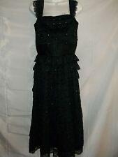 Ladies Size S Vintage Black Layered Lace Prongset  Rhinestones Party Dress RARE!