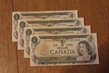 uncirculated Canadian 1973 1 Dollar Bill sequential ECU BAF Canada banknote