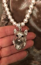 DESIGNER SILVERED YORKIE,YORKSHIRE TERRIER,SILKIE DOG PEARL NECKLACE & PENDANT