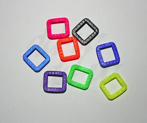 3 Schlüsselkennringe eckig Schlüsselmarkierer Schlüsselkappen