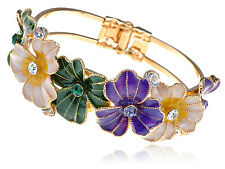 Lady Colorful Enamel Painted Spring Flower Gold Tone Bracelet Bangle Cuff Band