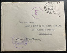1917 US Army PO Forces In Europe Censored Cover To London England