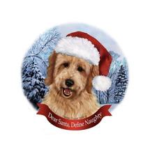 Dog in Santa Hat Porcelain Hanging Howliday Ornament (Goldendoodle)
