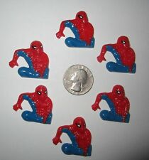 6 SPIDERMAN FLAT BACK RESINS *SHIPS FREE* *USA SELLER*