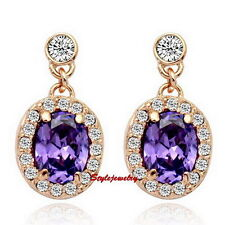Rose Gold Filled Amethyst Made with Swarovski Crystal Dangle Earring IE116