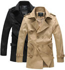 BF1035 New Men Casual Double Breasted Trench Slim Fit Coat Jacket KHAKI & BLACK