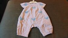 M&S Pure Cotton S/Sleeved Embroidered Romper PlaySuit NEWBORN 50cm Purple BNWT