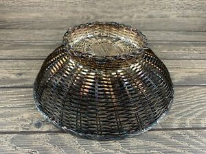 Vintage Footed Silverplate Woven Basket