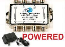3X4 MULTI-SWITCH LNB POWER SUPPLY SW34 FTA SATELLITE  BELL DISH NETWORK SPLITTER