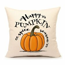 Happy Pumpkin Spice Thanksgiving Throw Pillow Cover Cushion Case 18 x 18 Inch