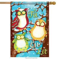 "Fa La La Owls Holiday House Flag Double Sided Christmas Snow Wise Winter 28""x40"""