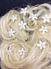 Bridal Wedding Prom WHITE flower Clear Crystal Diamante Hair Pins Clips  x 10
