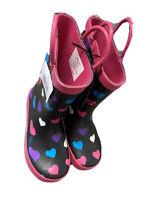 Rainbow Daze Girl's Rain Rubber Boots Color Black/Pink Size 9/10 No Box