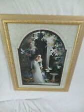 Home Interiors '' Lady with Doves '' Picture Gorgeous 21'' x 26.5''