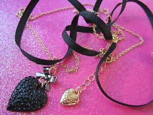 Betsey Johnson Black Heart Necklace