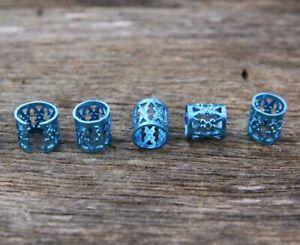 30 Blue Dreadlock Beads Hair Cuffs 7mm Hole (9/32') + FREE Stainless Dread Ring