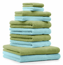 Betz lot de 10 serviettes Premium: vert pomme & turquoise, 100% coton