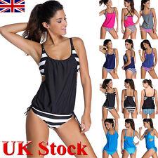 Women Striped Tankini Bikini Set Push-up Padded Swimsuit Suit Bathing Swimwear