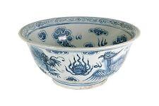 "Blue and White Porcelain Dragon and Phoenix Motif Bowl 15"" Diameter"