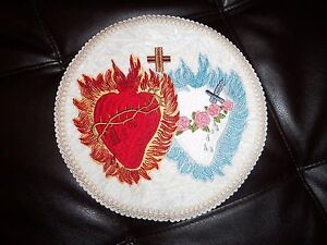 Embroidered The Sacred Heart of Jesus/The Immaculate Heart of Mary 11in white