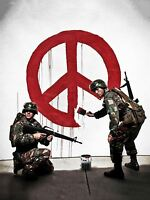 PRINT POSTER PHOTO GRAFFITI STREET BANKSY SOLDIERS PAINTING PEACE SIGN NOFL0380