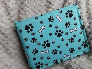 Disabled Blue badge holder wallet cover  DOGS PAW PRINT fabric  Hologram safe