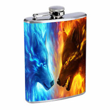 Fire Ice Wolves Em1 Flask 8oz Stainless Steel Hip Drinking Whiskey